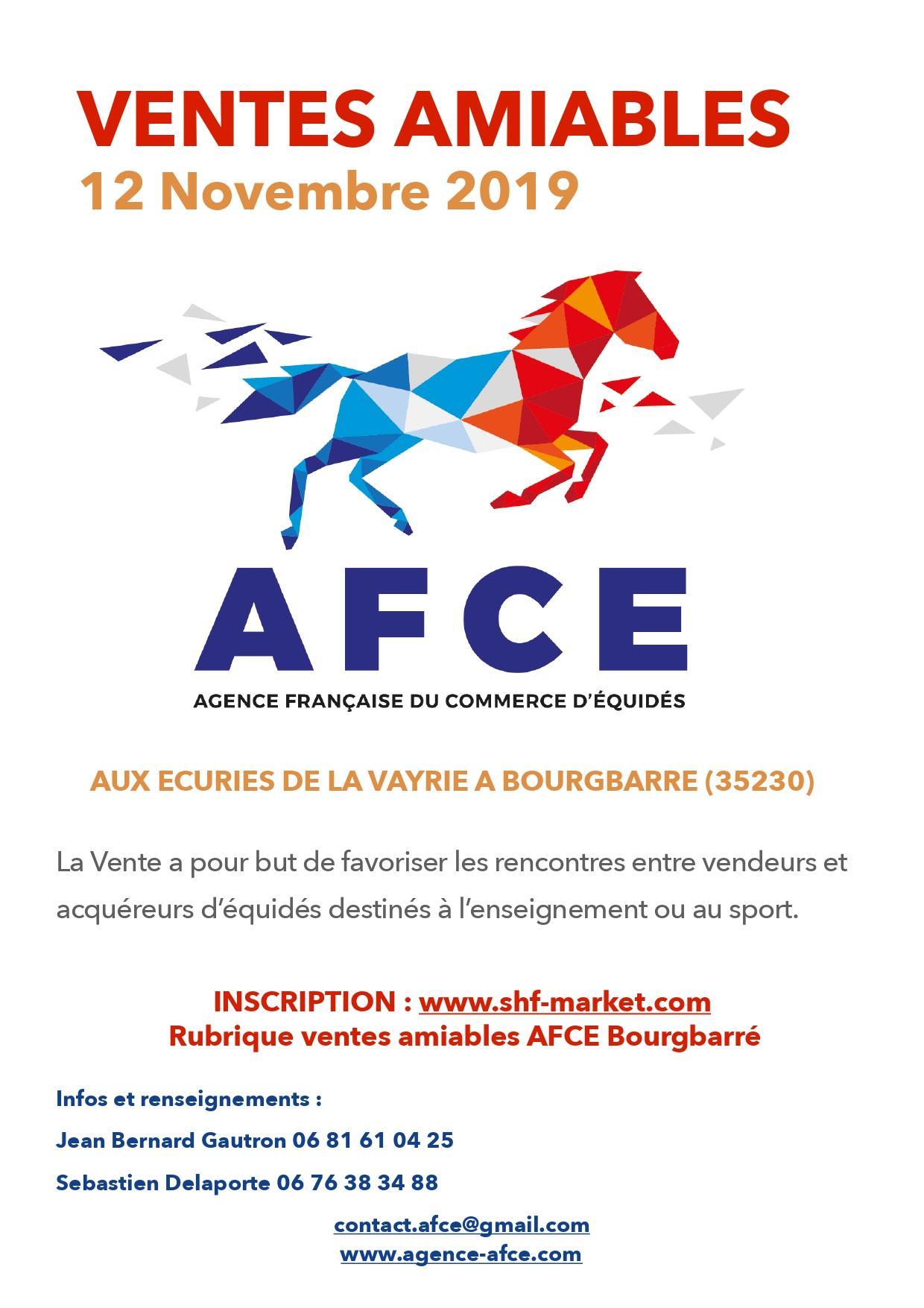 Ventes Amiables d'Equidés à Rennes Bourgbarré le 12 Novembre 2019