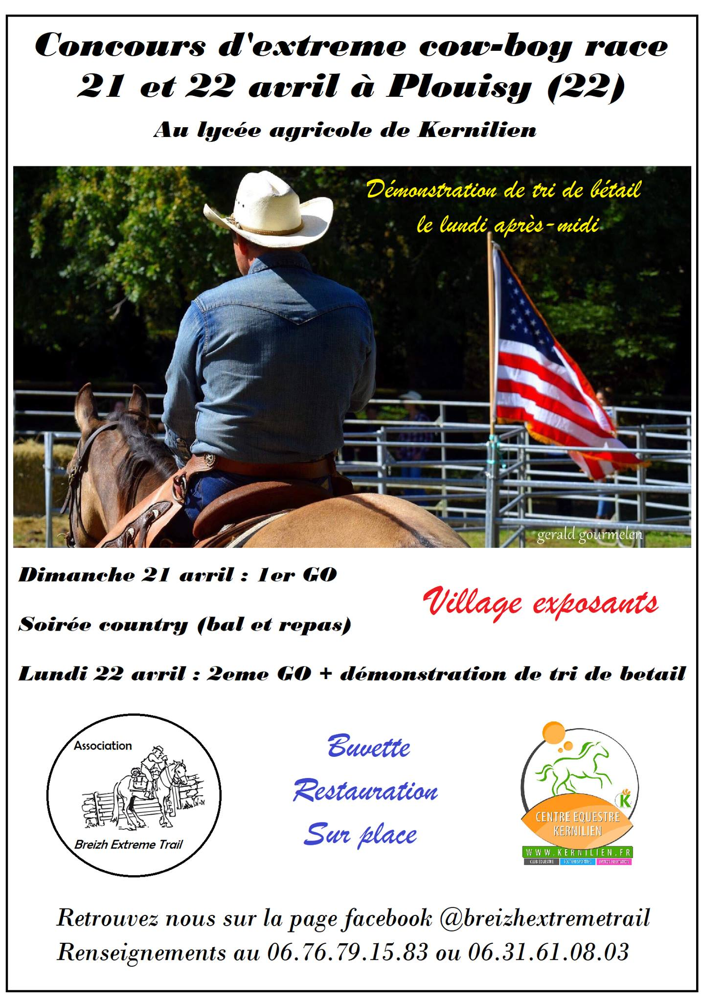 Concours d'extreme cow-boy race 21 et 22 avril à Plouisy